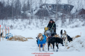 Katherine Keith leaves the ghost town of Iditarod during a snowfall on Friday, March 9th during the 2018 Iditarod Sled Dog Race -- AlaskaPhoto by Jeff Schultz/SchultzPhoto.com  (C) 2018  ALL RIGHTS RESERVED
