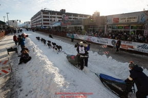 Jessie Royer leaves the start line on 4th avenue during the ceremonial start of the 2019 Iditarod in downtown Anchorage, Alaska on Saturday March 2.Photo by Jeff Schultz/  (C) 2019  ALL RIGHTS RESERVED
