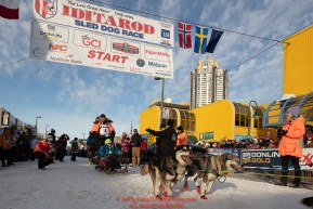 Mats Pettersson leaves the start line on 4th avenue during the ceremonial start of the 2019 Iditarod in downtown Anchorage, Alaska on Saturday March 2.Photo by Jeff Schultz/  (C) 2019  ALL RIGHTS RESERVED
