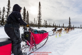 Michelle Phillips on the trail after leaving the Kaltag village checkpoint on Sunday afternoon March 11th during the 2018 Iditarod Sled Dog Race -- AlaskaPhoto by Jeff Schultz/SchultzPhoto.com  (C) 2018  ALL RIGHTS RESERVED