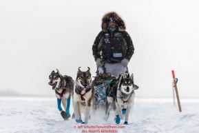 Cody Strathe runs on the Yukon River on his way toward the Kaltag village checkpoint on Sunday afternoon March 11th during the 2018 Iditarod Sled Dog Race -- AlaskaPhoto by Jeff Schultz/SchultzPhoto.com  (C) 2018  ALL RIGHTS RESERVED