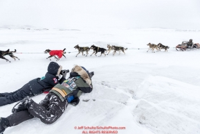 Terrie Hanke (eye on the trail) and Heidi Sloan (Teacher on the trail) take photos of Jeff King as he approaches the Unalakleet checkpoint on Monday afternoon March 12th during the 2018 Iditarod Sled Dog Race -- AlaskaPhoto by Jeff Schultz/SchultzPhoto.com  (C) 2018  ALL RIGHTS RESERVED