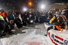 Media take photos of Pete Kaiser and his lead dogs at the Nome finish line after Pete won the 2019 Iditarod Trail Sled Dog Race. Pete's winning time is 9 days 12 hours 39 minutes and 6 secondsPhoto by Jeff Schultz/  (C) 2019  ALL RIGHTS RESERVED
