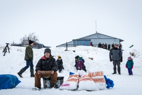 Volunteers waiting to check teams into Unalakleet, March 15th, 2020.