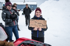 Beth, a fan of Jessie Royer, comes to the Unalakleet checkpoint to cheer her on, March 15th, 2020.