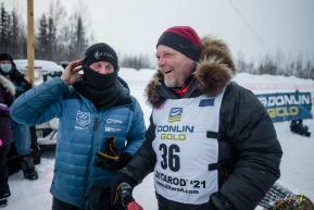 Aaron Burmeister and Dallas Seavey at the Finish