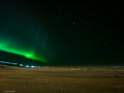 Millie Porsild's headlamp crosses the frozen ice with the northern lights in the distance.  (Koyuk, March 17, 2020)