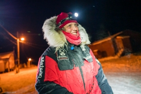 Aliy Zirkle enters the Kokuk checkpoint in good spirits on March 17, 2020.