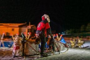 Aliy Zirkle enters the Koyuk checkpoint on March 17, 2020.