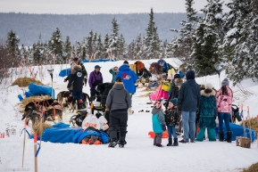 Local Koyuk residents and film crews walk through the parked dog teams at the Koyok checkpoing on March 16, 2020.