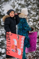 Kids from the Koyuk checkpoing created signs to great mushers along the Iditarod trail on March 16, 2020.