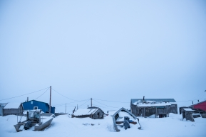 Parked boats in Unalakleet, March 16th, 2020.