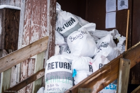 The return bag pile is growing daily at the Koyuk checkpoint on March 17, 2020.