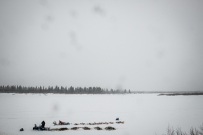 Teams resting in White Mountain, just 77 miles from Nome, March 17th, 2020.
