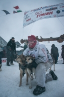 Aliy Zirkle of Two Rivers, AK, finishes in Nome in 18th place in the 2020 Iditarod on March 18th, 2020.
