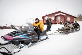 Dropped dogs leaving the White Mountain checkpoint to fly back to Anchorage, March 18, 2020.