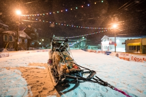 Tom Frode Johansen's sled sits among the quiet streets of Nome on March 19, 2020 (Nome, AK).