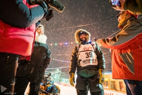 Tom Frode Johansen smiles and chats wtih media after finishing the 2020 Idiatarod on March 19, 2020 (Nome, AK).