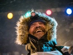 Tom Frode Johansen smiling after finishing the Iditarod in the early hours of March 19, 2020 (Nome, AK).