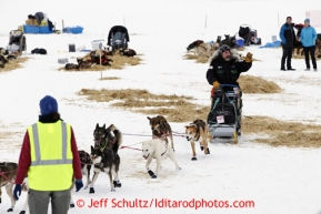 Scott Janssen of Anchorage leaves the Finger Lake checkpoint  March 4, 2013.
