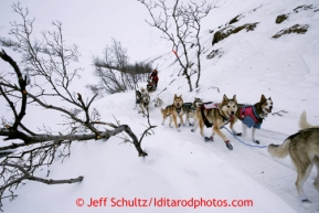 Aliy Zirkle runs over a narrow section of trail shortly after cresting the summit of Rainy Pass during the 2013 Iditarod sled Dog Race   March 4, 2013.  Photo by Jeff Schultz Do Not Reproduce without permission