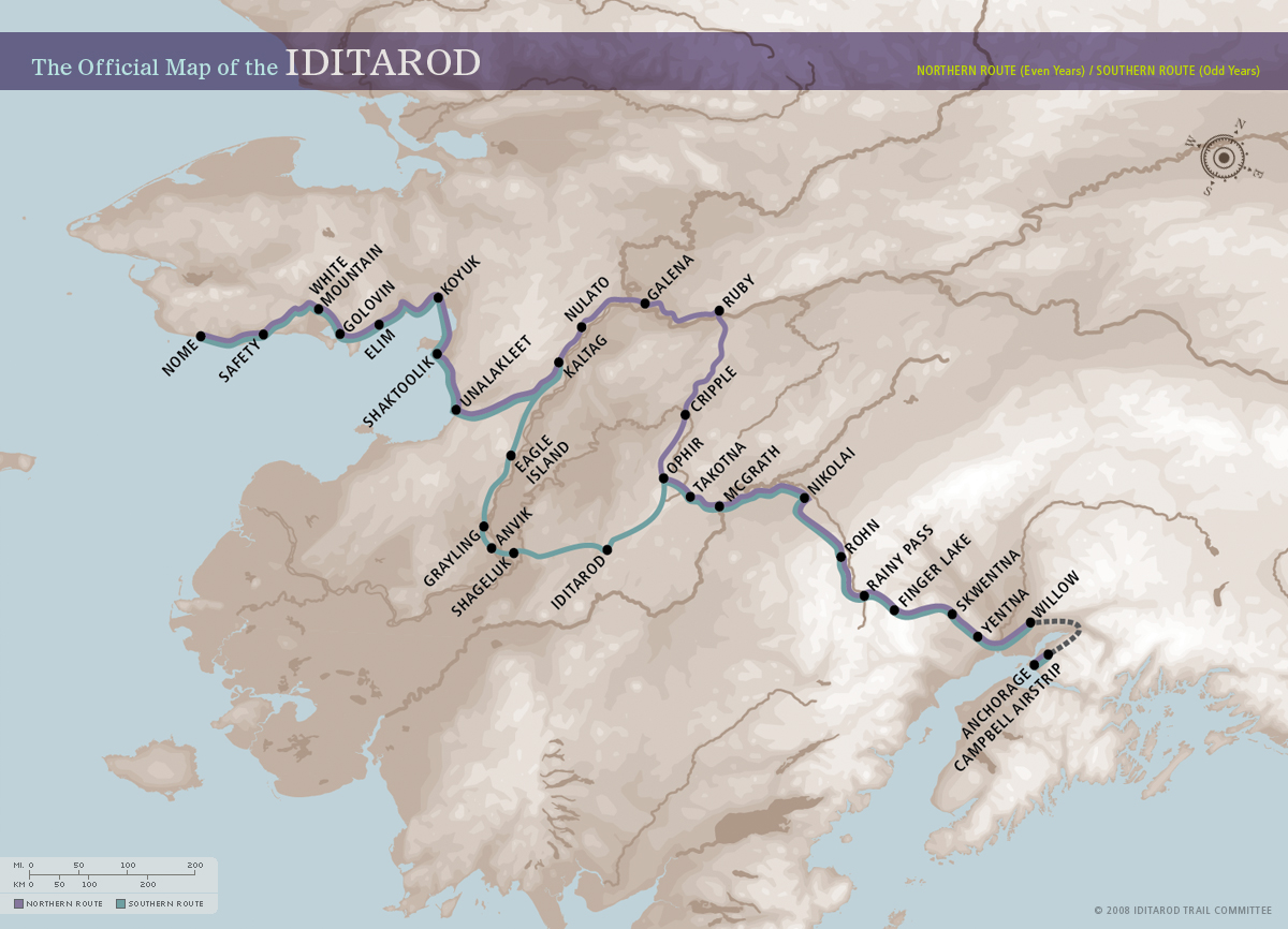 Iditarod Trail Dog Sled Race map