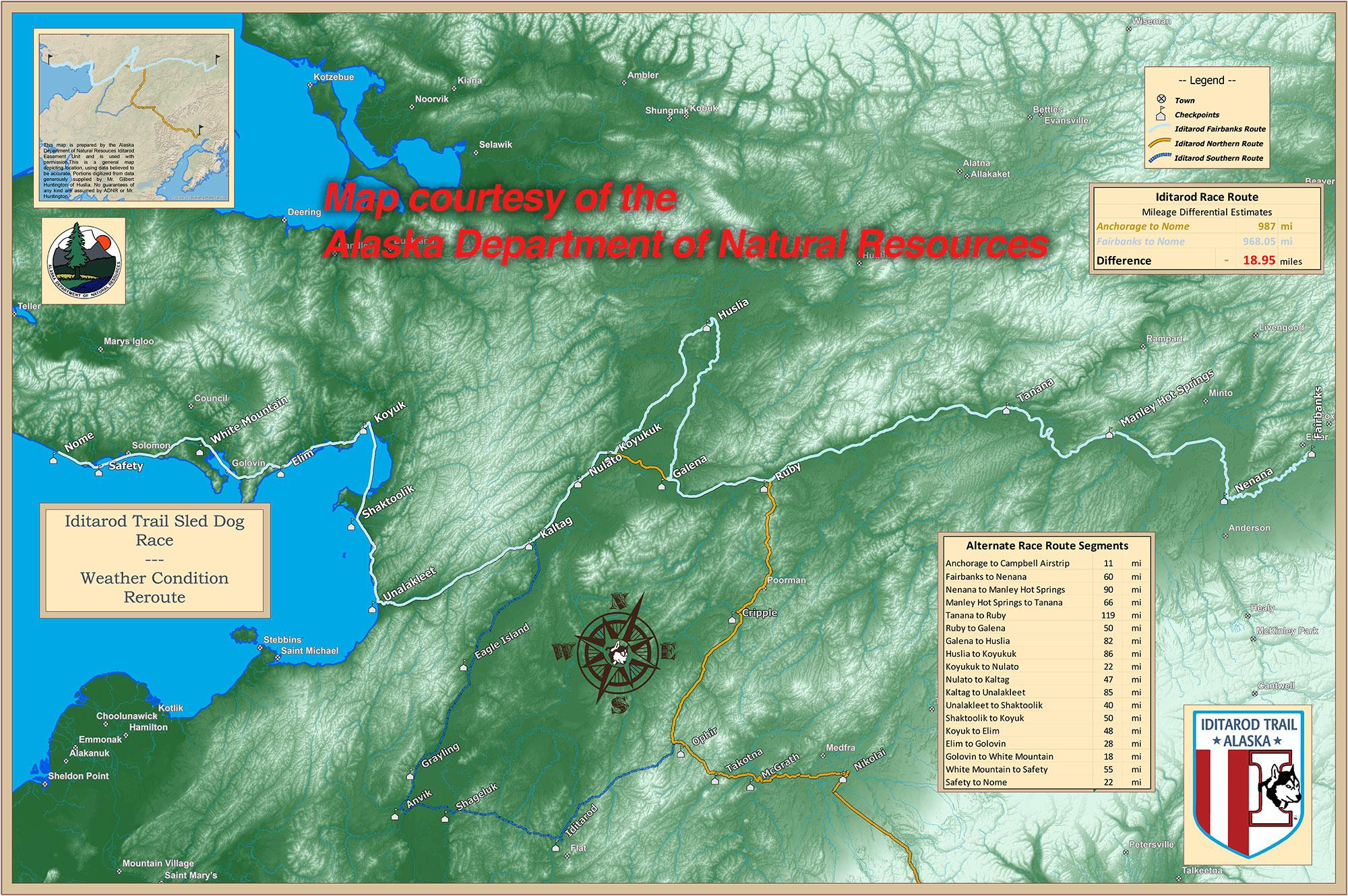 Race Map – Iditarod Road Map Of Northern Alaska on road map france, road map washington, road map hawaii, road map canada, road map manitoba, road map new jersey, road map china, road map baffin island, road map iceland, road map guatemala, road map kenya, road map scandinavia, road map ukraine, road map europe, road map siberia, road map maryland, road map connecticut, road map utah, road map japan, road map virginia,