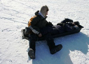 Lack of friction makes for wild toboggan rides for people, too.