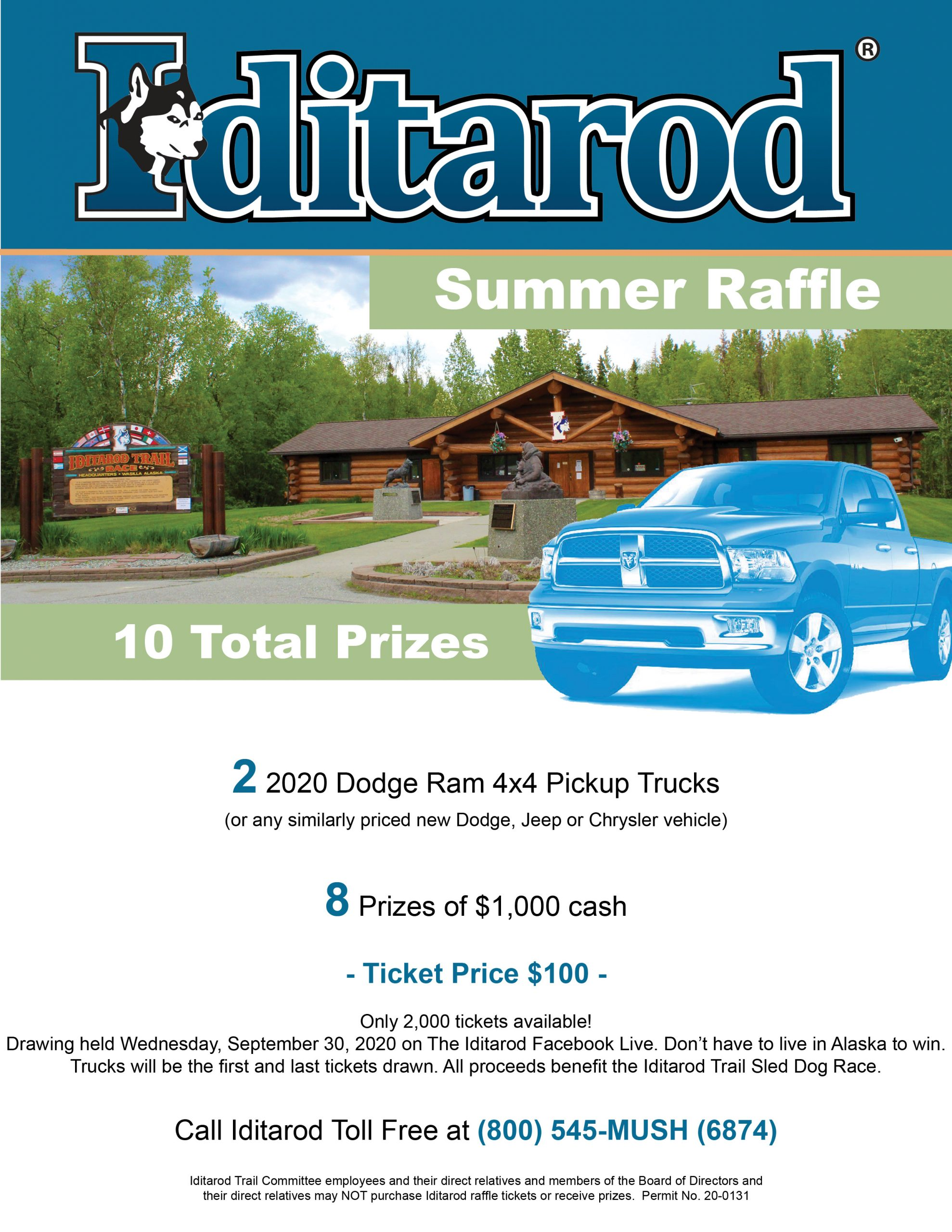 2020 Iditarod Summer Raffle Flyer